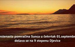 Pomračenje sunca u četvrtak u Djevici