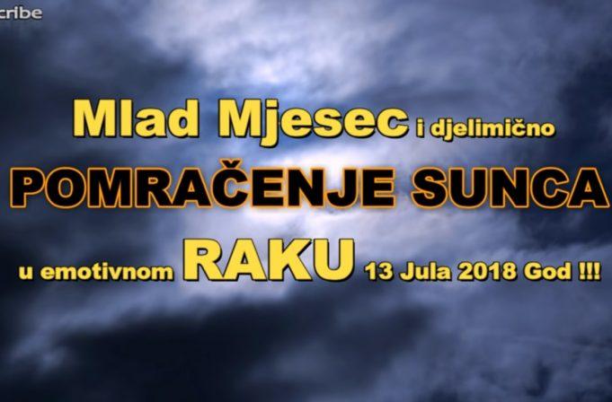 Mlad Mjesec i djelimično pomračenje Sunca u Raku 13. jula 2018